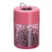 Porta clips magnetico Acrimet 936 1 com corpo rosé clear e tampa rosé solido