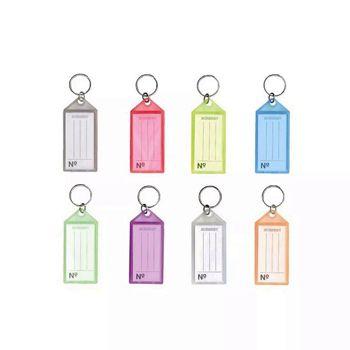 Chaveiro Acrimet 142 0 com etiqueta de identificação  pote com 60 chaveiros cor rosa neon