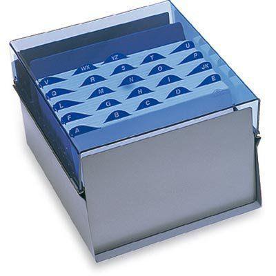 Fichario Acrimet 924 2 de mesa para ficha 6x9 com indice cor azul clear