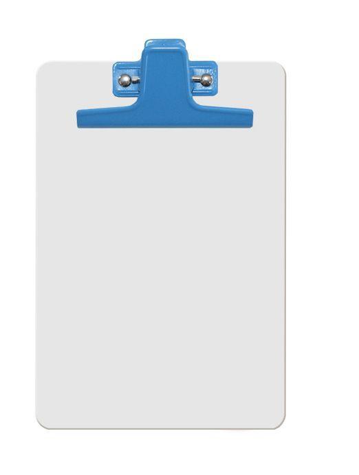 Prancheta Acrimet 125 2 mdf branco com prendedor metalico na cor azul meio oficio pequena a5