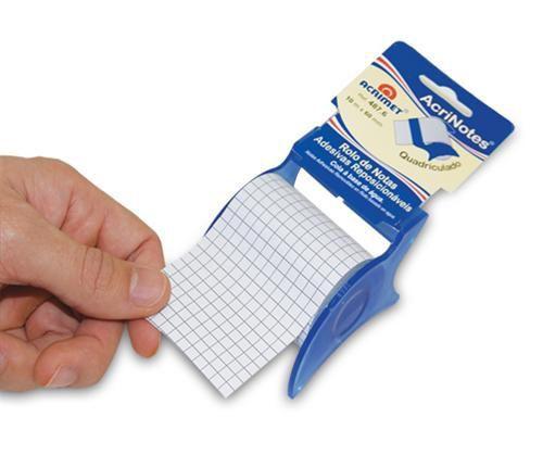 Rolo  487 6 de notas adesivas branco quadriculado com 10m de compr por 6cm de larg