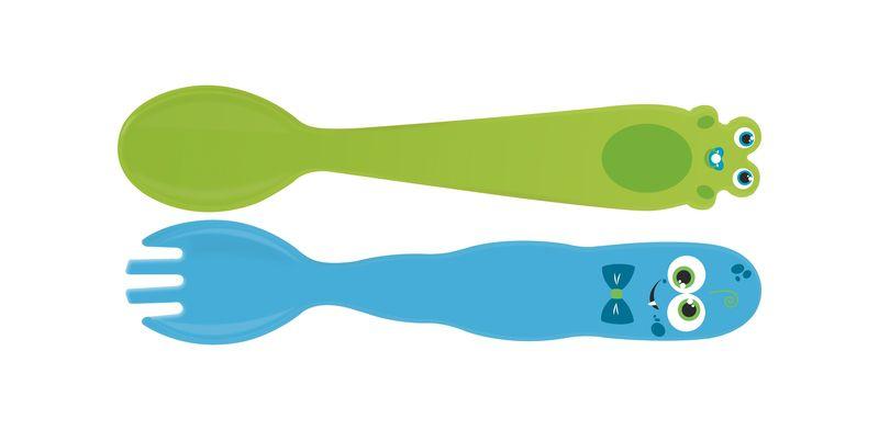 Jogo de Talheres Infantil Tramontina Monsterbaby em Polipropileno com Proteção Antimicrobiana Azul e Verde 2 Peças