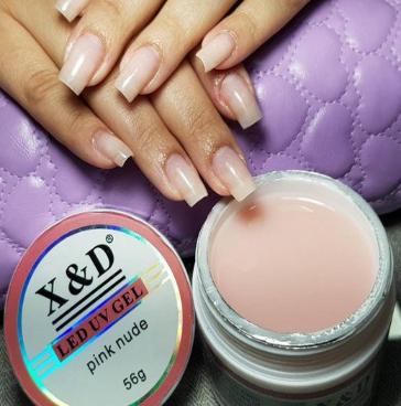 Gel X&D para Construção de Alongamento de Unhas Pink Nude 56g