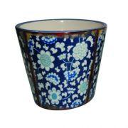 Cachepô BTC em Cerâmica Azul TN0134