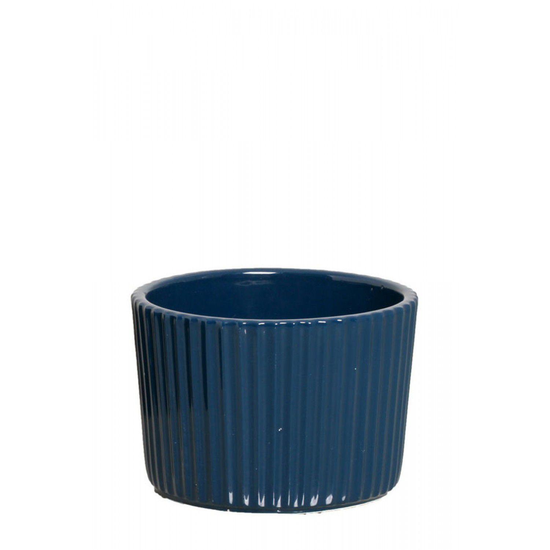 Cachepô Chalé Kalé em Cerâmica Cava Azul Petróleo 3581115