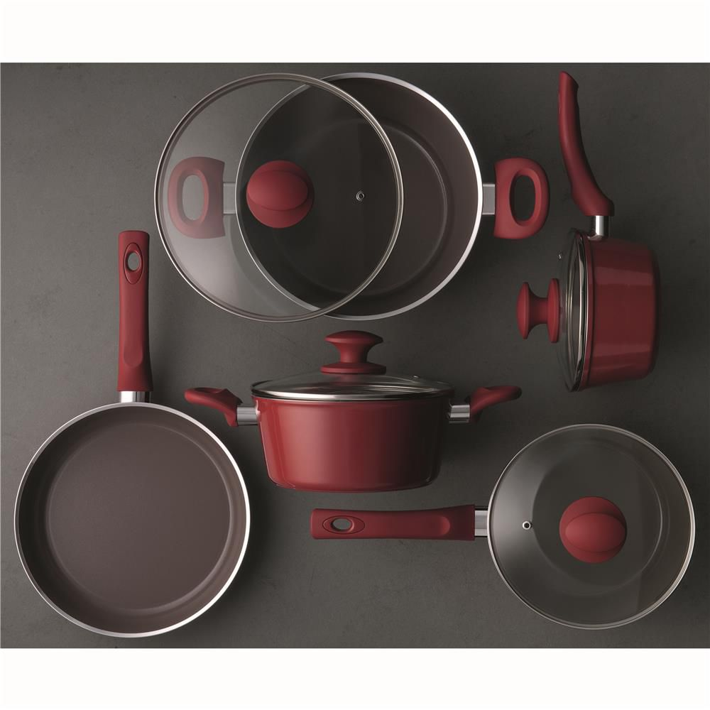 Conjunto de Panelas Brinox Ceramic Life Optima Carmin 4792/100 - 5 Peças