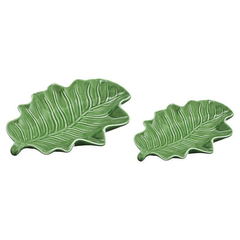 Kit Folhas Verdes Mart em Cerâmica 7918 - 2 Peças