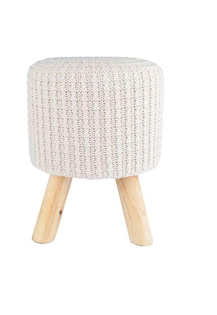 Puff Madeira Algodao Poliester Crochet Urban 4 Feet Bege 40293