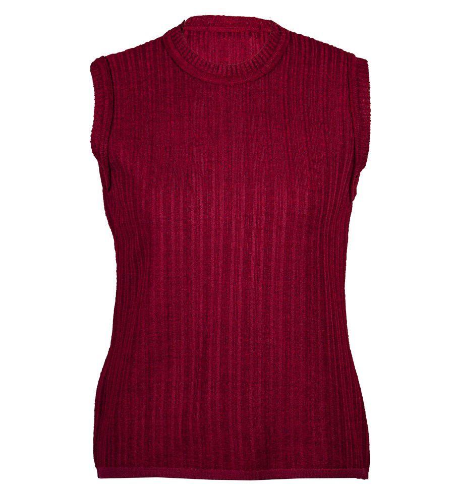 Blusa Cavada Cotele Vermelha em Tricot