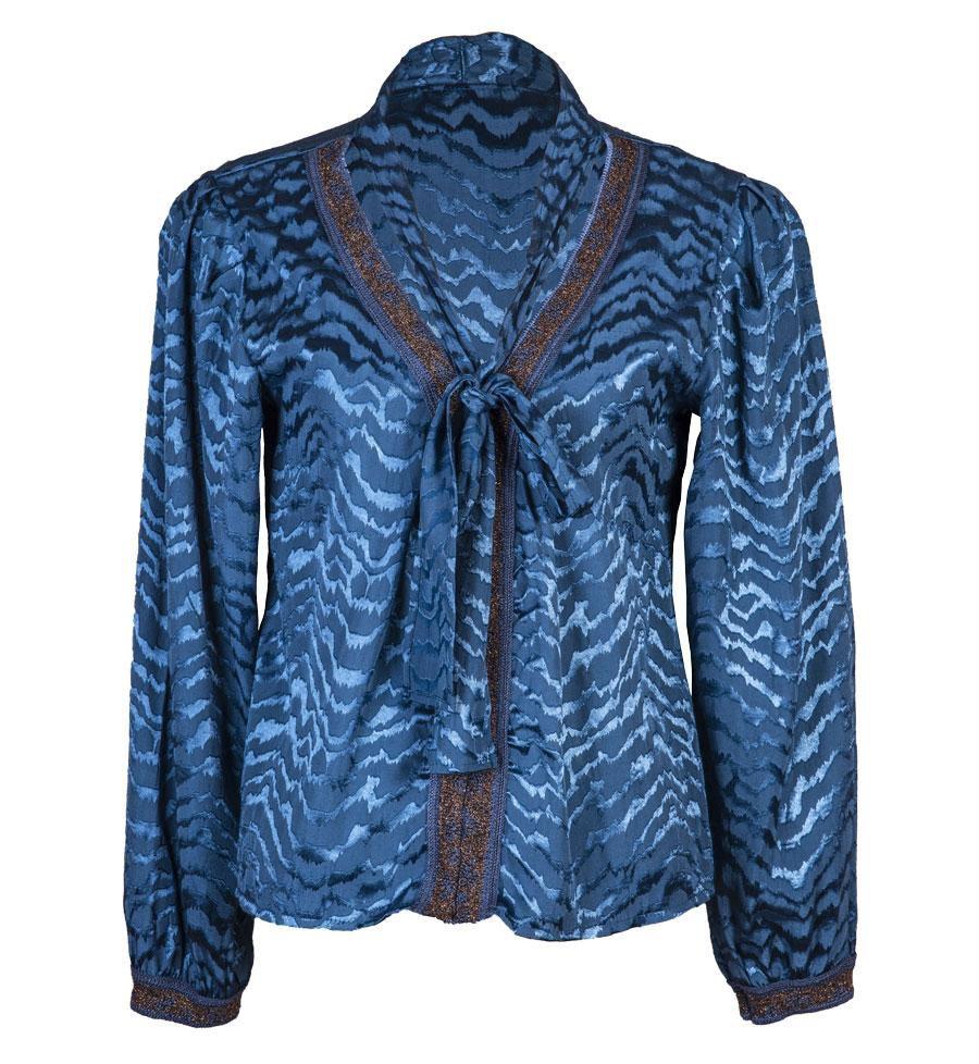 Blusa Gola Xale Tripoli Azul com detalhes em Tricot