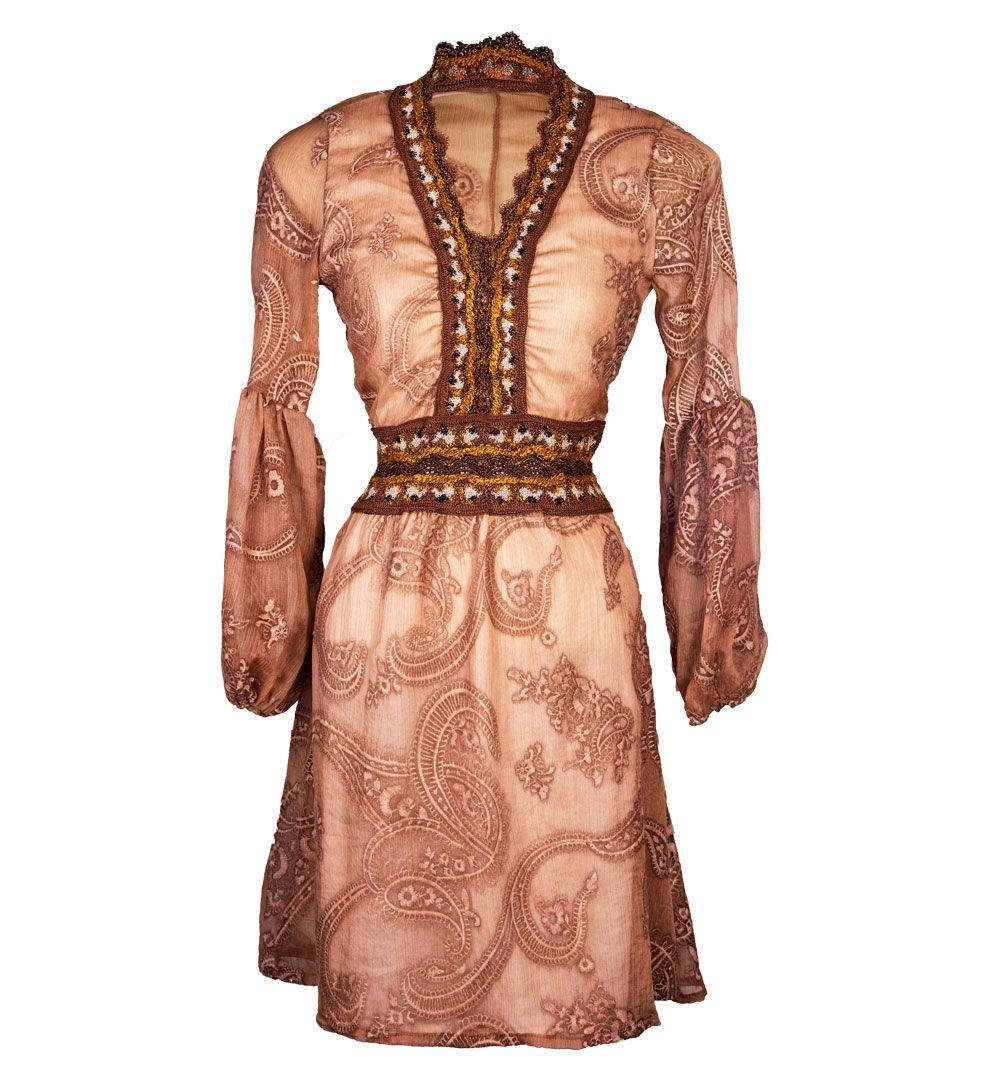 Vestido Bata Transparência Cognac