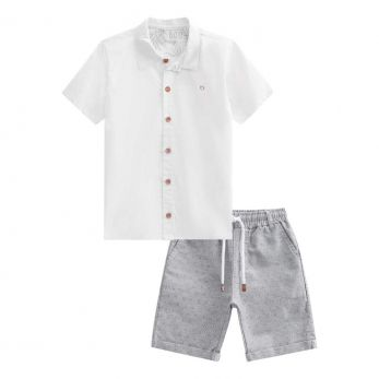 Conjunto Camisa Tricoline e Bermuda Maquinetado