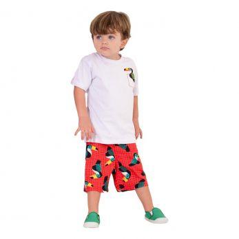 Conjunto Infantil Camiseta Branca e Bermuda Tucano