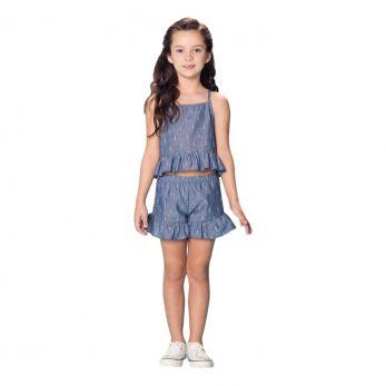 Conjunto Infantil Feminino Jeans Regata e Shorts
