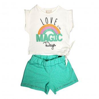Conjunto Infantil Menina Blusa com Shorts Malha