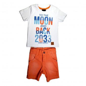 Conjunto Infantil Menino Camiseta Meia Malha e Bermuda Sarja com Cós Ajustável