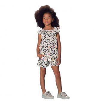 Conjunto Infantil Feminino Shorts Oncinha