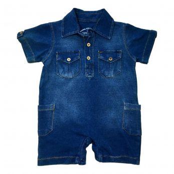 Macaquinho Menino Jeans Azul