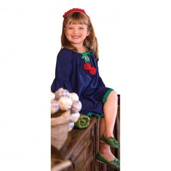 Vestido Infantil Azul Marinho Cereja Precoce