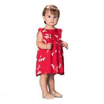 Vestido Gaivota Borboletas - Vermelho