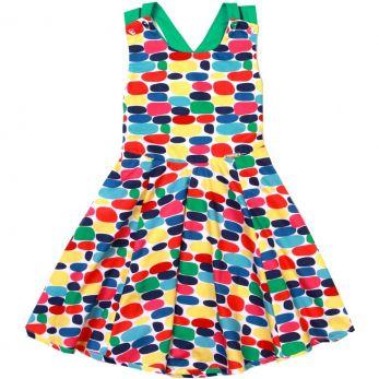 Vestido Infantil Costas Cruzadas Pedras Coloridas