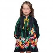 Vestido Infantil Preto Floral Precoce