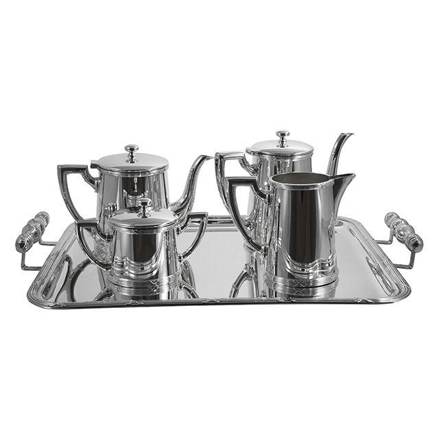 Jogo de Chá e Café Prata Liso 5 Peças - Wolff