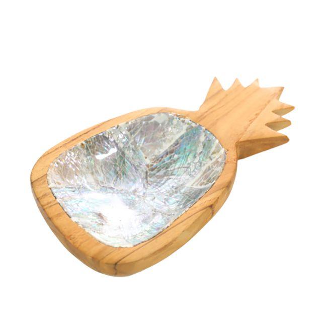Petisqueira em Madeira Teka em formato de Abacaxi