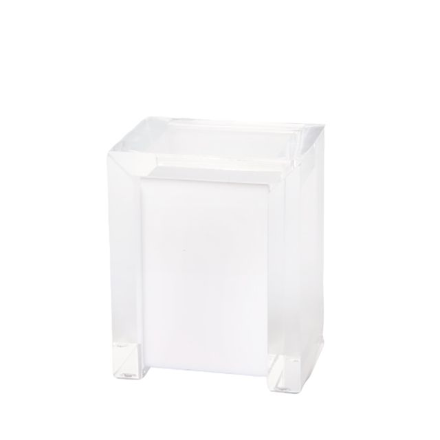 Porta Cotonete Classic em Acrílico Branco/ Transparente