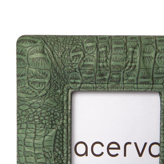 Porta Retrato em Resina Texturizada Croco na cor Verde 10x15