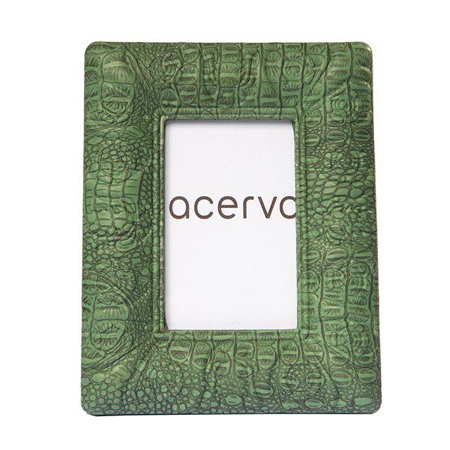 Porta Retrato em Resina Texturizada Croco na cor Verde 13x18cm