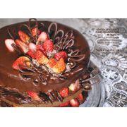 Bolo Chocolate Meio Amargo com Morango