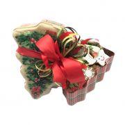 Lata em Formato de Árvore com Biscoitos Doces Mistos de Natal