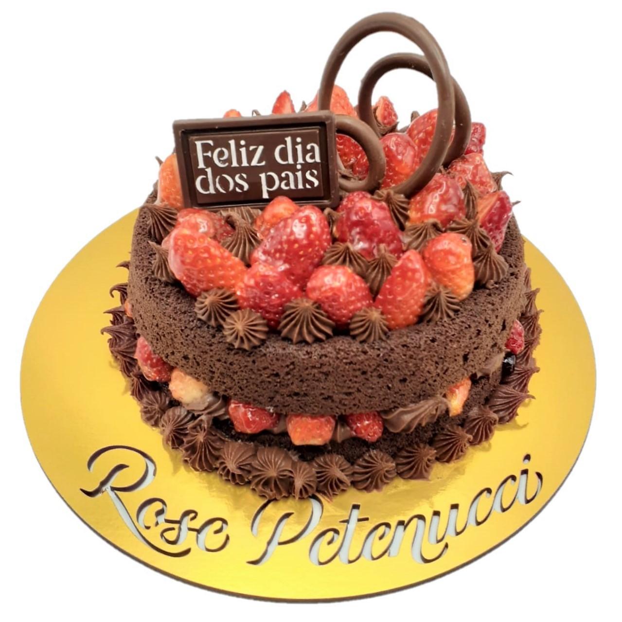 Bolo Dia dos Pais  - Chocolate Meio Amargo com Morango - Grande
