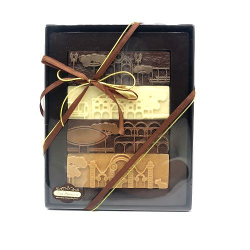 Caixa com 4 Barras de Chocolate Tema Curitiba