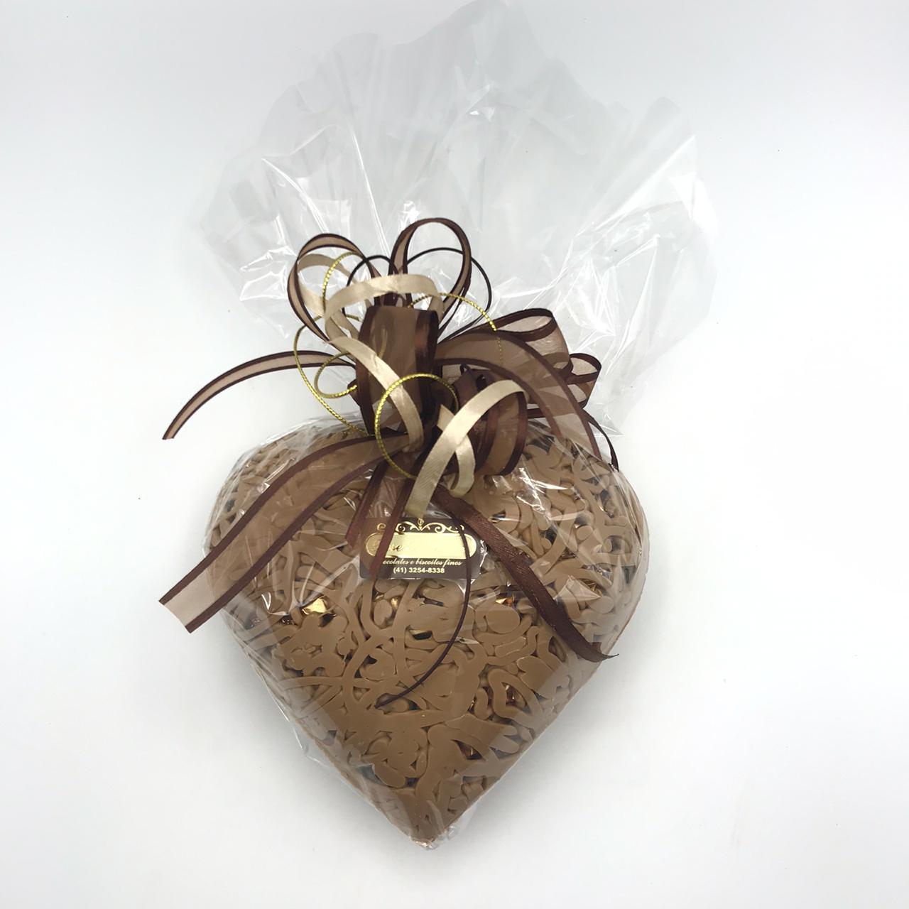 Coração Estampado de Chocolate Gold Belgian