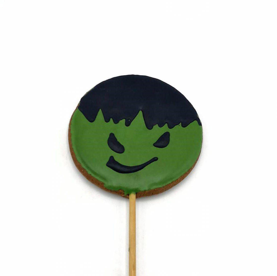 Pirulito de Bolacha de Mel Confeitada Hulk