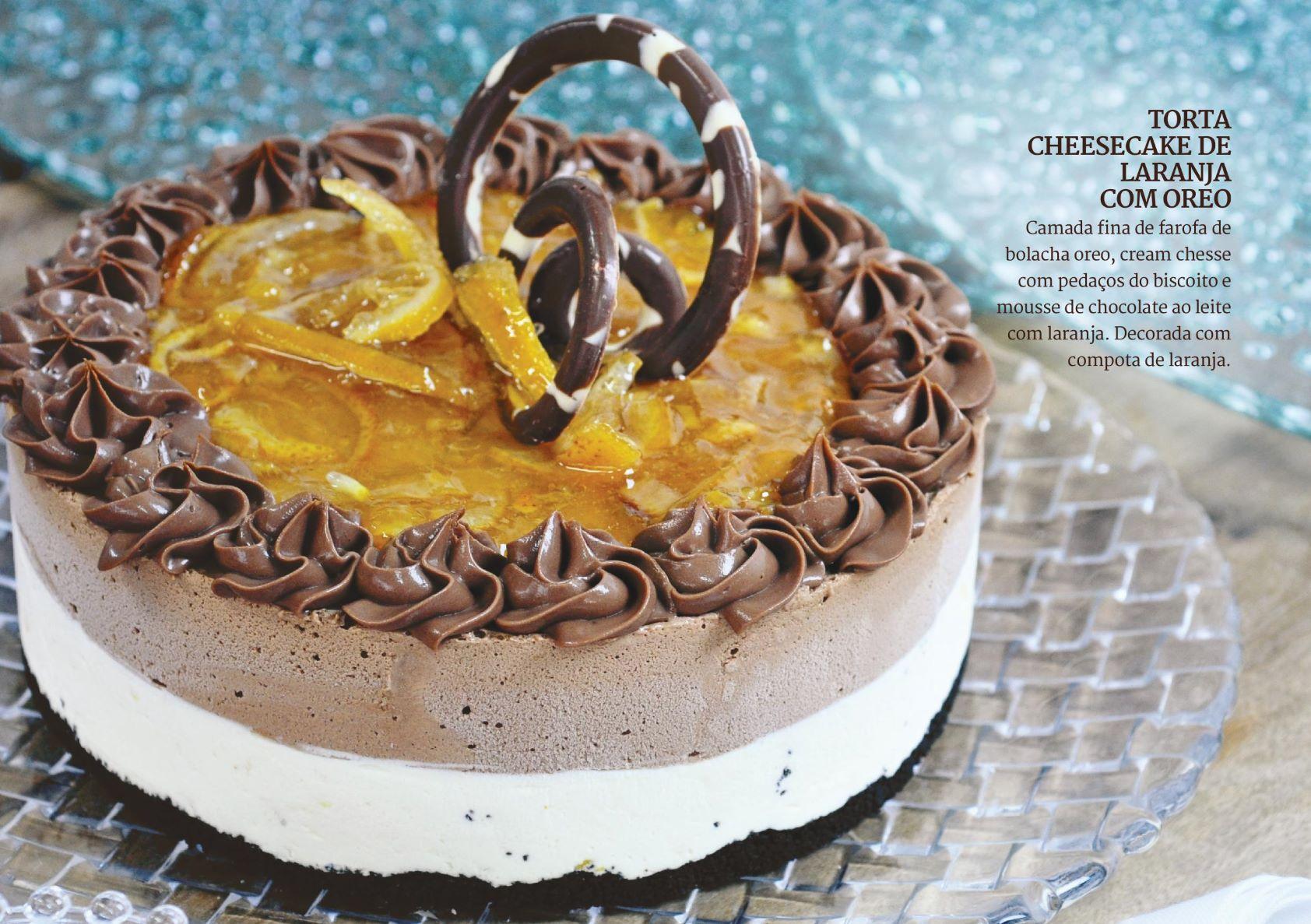 Torta Cheesecake de Laranja com Oreo