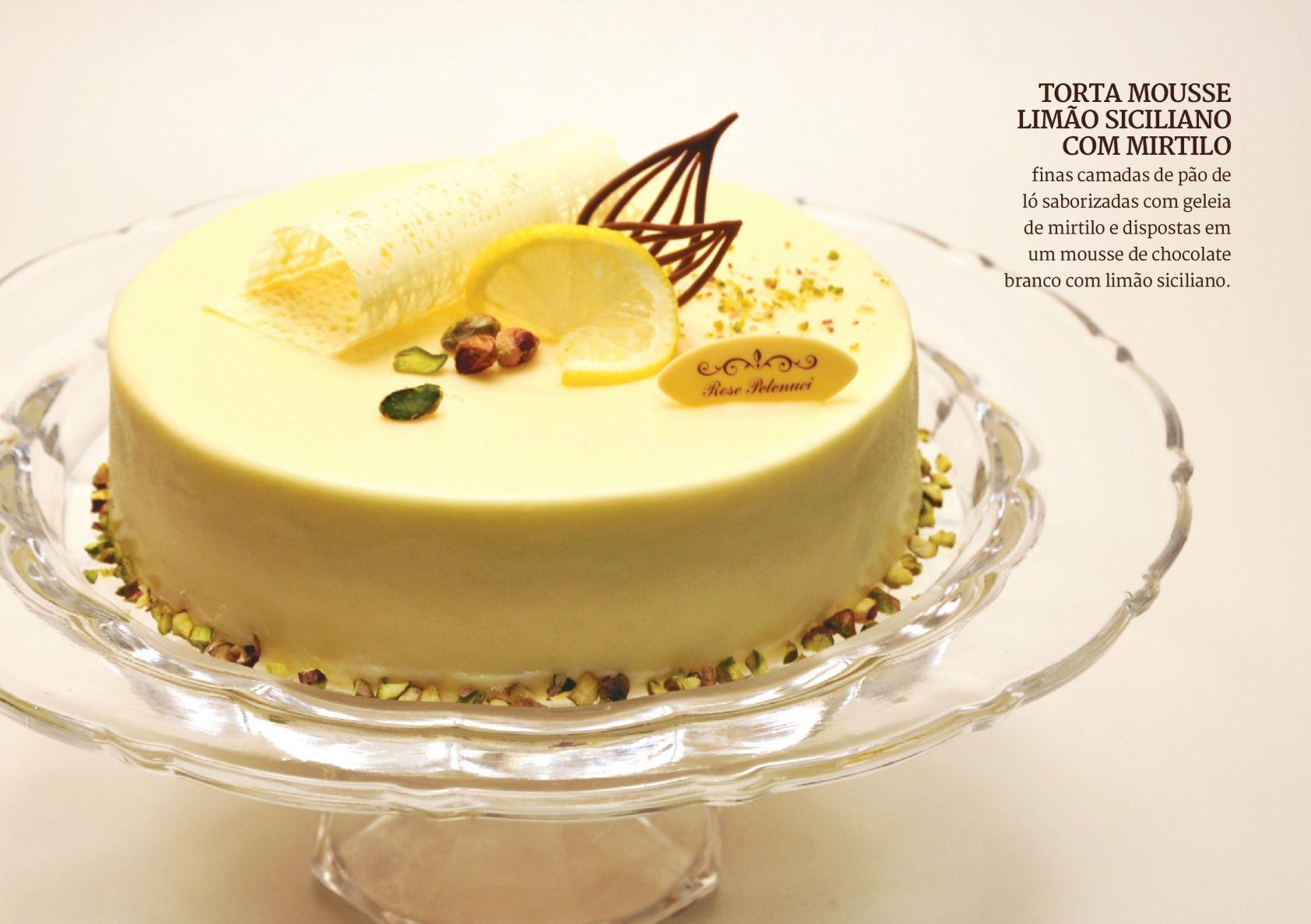 Torta Mousse Limão Siciliano com Mirtilo