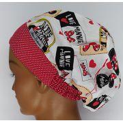 TF579 - Touca estampa Love Minnie barra poá vermelha