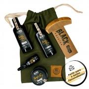 Kit + Bag Artesanal Exclusiva Com Óleo + Balm + Pente + Shampoo + Condicionador para Barba Black Barts® Single Ron