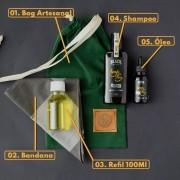 KIT 04 - BANDANA EXCLUSIVA BLACK BARTS + REFIL BLACK 100ML +  BAG ARTESANAL PARA PRESENTE + ÓLEO DE BARBA + SHAMPOO DE BARBA