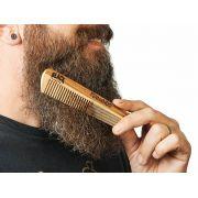 Pente de Madeira Personalizado com seu Nome para Barba Reto Duplo Dentes Largos + Bag Exclusiva Black Barts®