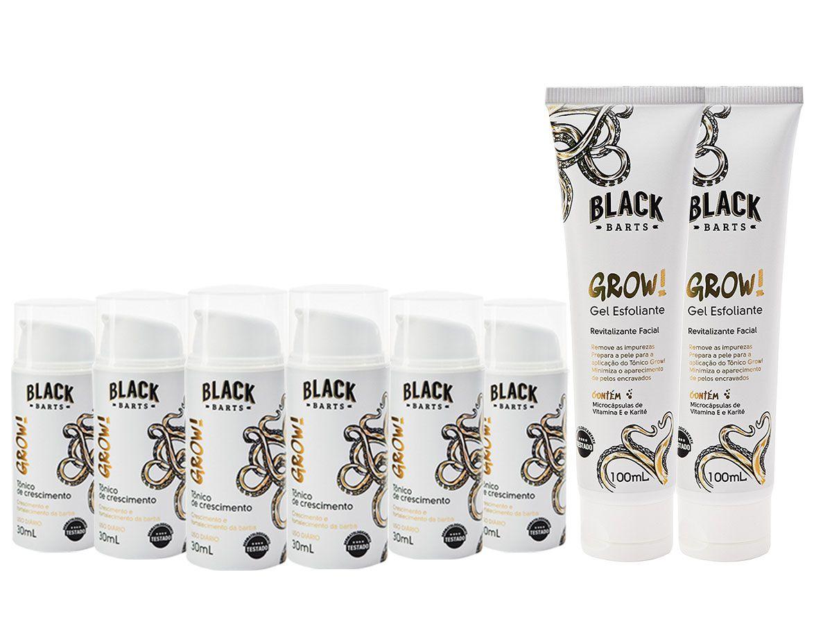 GROW! 6 Meses - 06 Tônico Para Crescimento de Barba Nanotecnológico + 02 Preparador Esfoliante de pele BLACK BARTS®