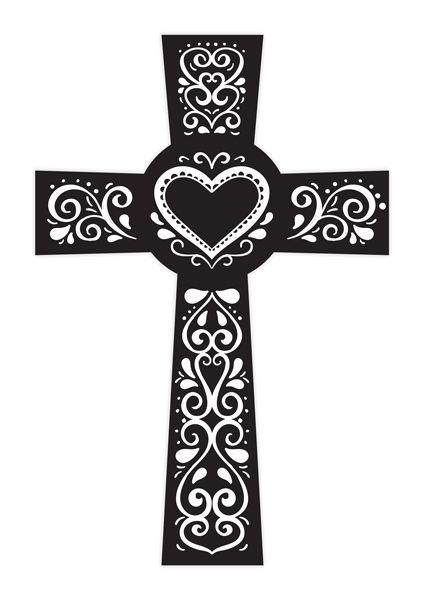 Crucifixo Linha Laser Com Coração - Modelo 03