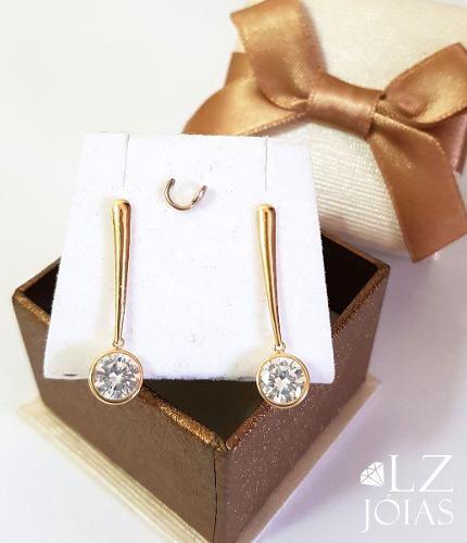 Brinco Palito Com Pedra Pendurada Em Ouro 18k Zirconia + Garantia Eterna