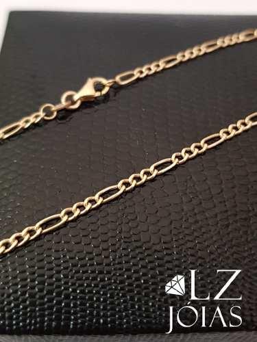 Corrente Cordão Colar Elos Masculina 3x1 Grumet Alternada Ouro 18k 60cm