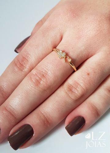 Anel Corações Cravejado Vazado Zirconia Ouro 18k Feminino