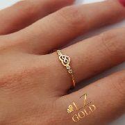 Anel Coração Infinito Meio Vazado Ouro 18k 750 Feminino Detalhe Ouro branco