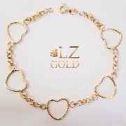 Pulseira portuguesa coração vazado feminina grossa ouro 18k grande